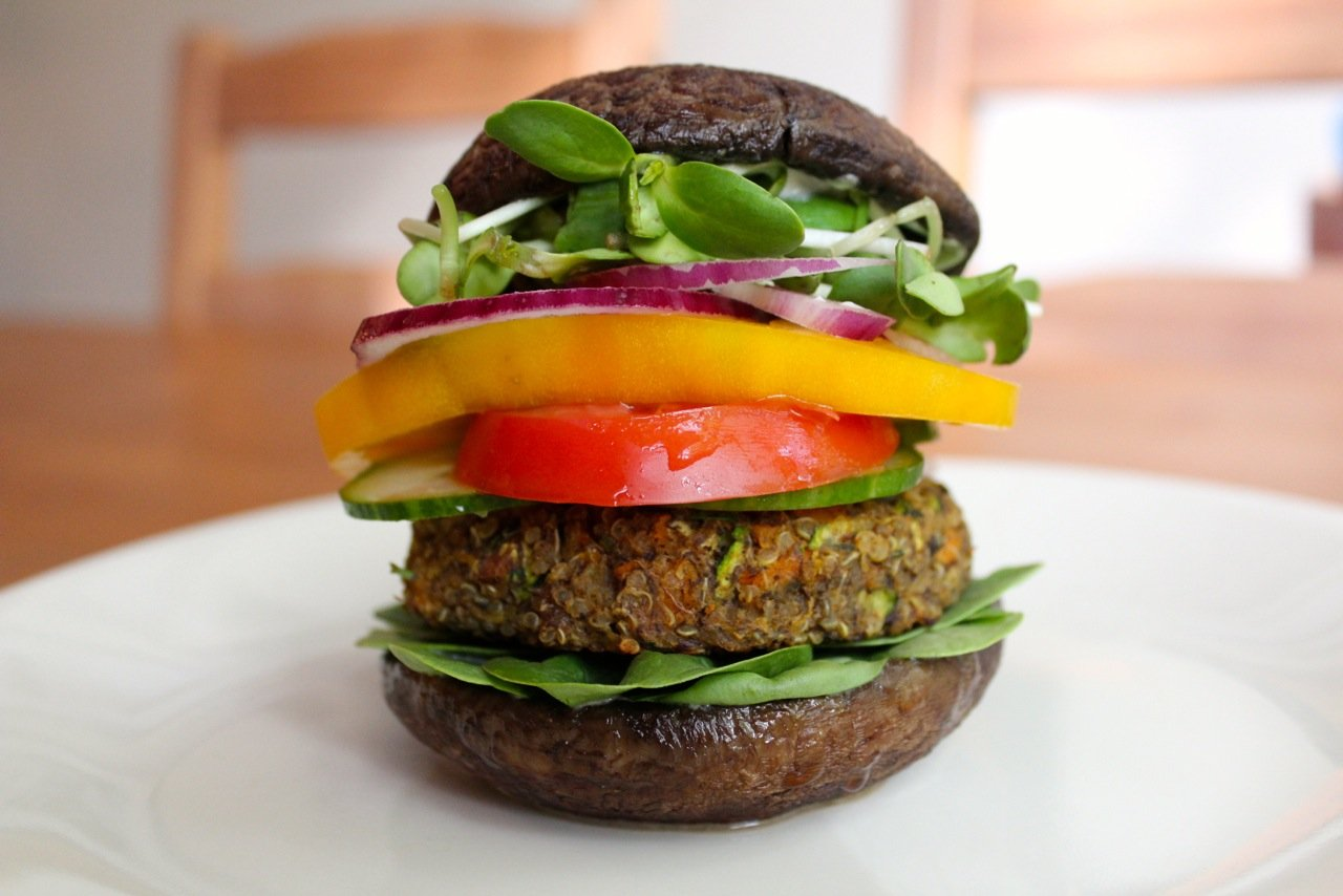 Healthy Quinoa Burgers With Portobello Mushroom Buns