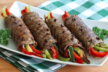 Balsamic Glazed Steak & Veggie Roll Ups